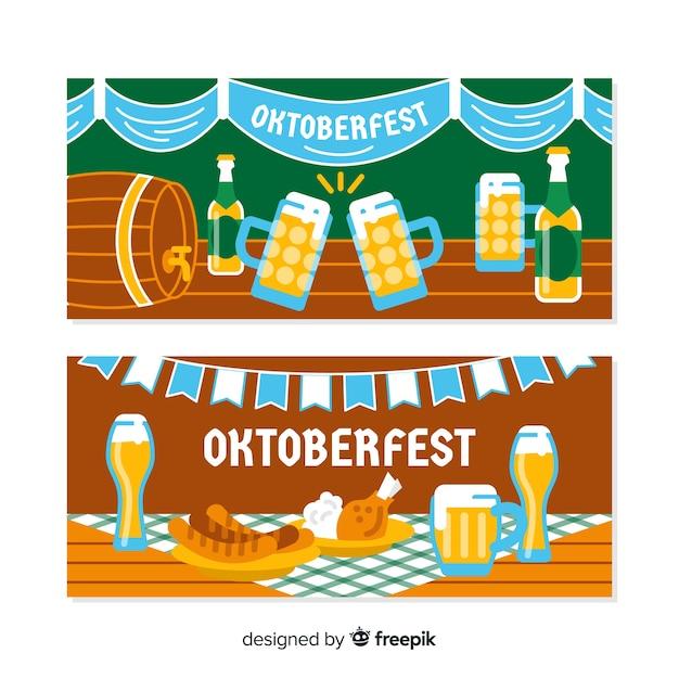 Banners coloridos de oktoberfest com design plano Vetor grátis