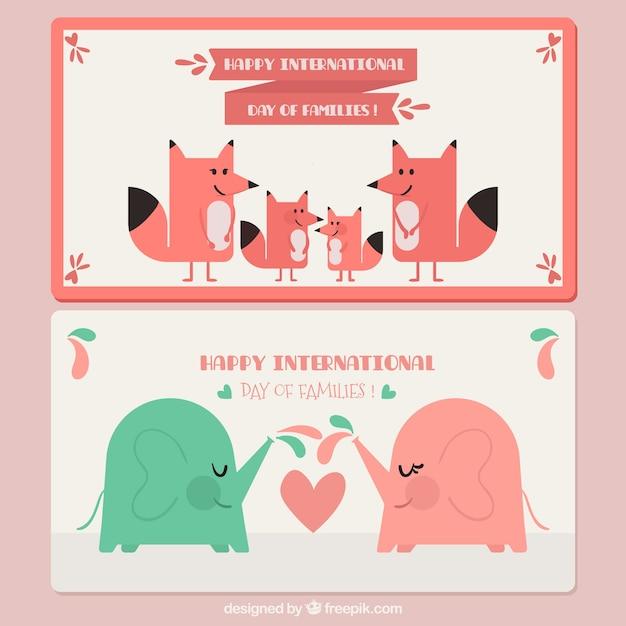 Banners com elefantes e raposas para dia internacional das famílias Vetor grátis