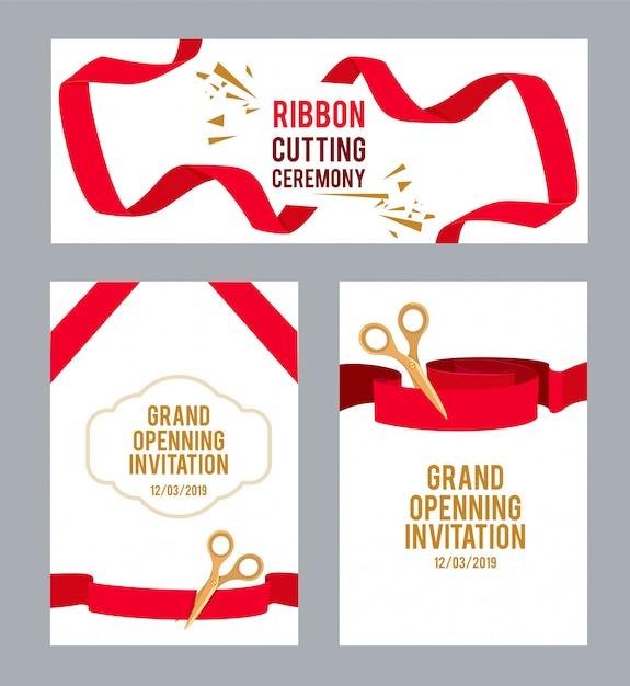 Banners com fotos com fitas vermelhas para cerimônia. tesoura de vetor corta a fita, ilustração de convite de cerimônia Vetor Premium