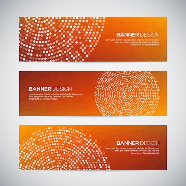 Banners com fundo e padrão geométrico colorido abstrato pontilhado. v Vetor Premium