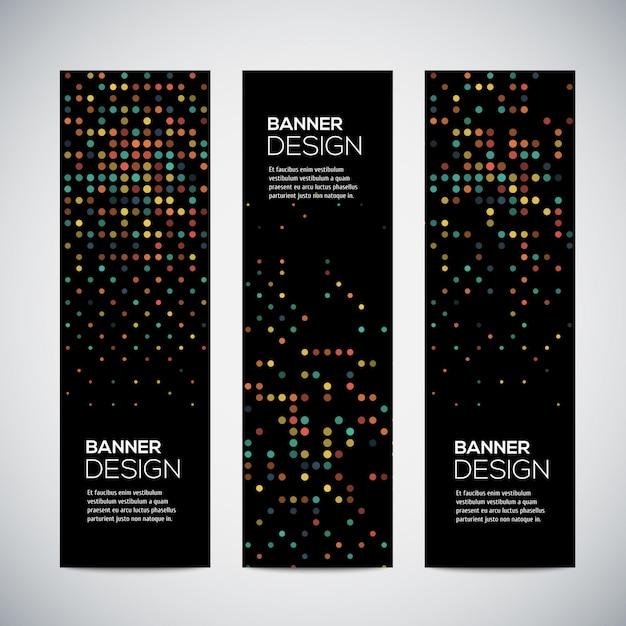 Banners com fundo geométrico triangular forrado colorido abstrato Vetor Premium