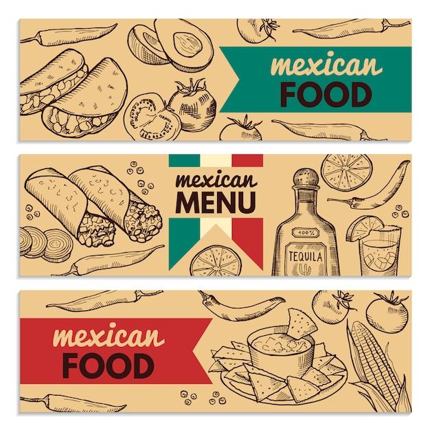 Banners com imagens de diferentes alimentos mexicanos para o menu do restaurante Vetor Premium