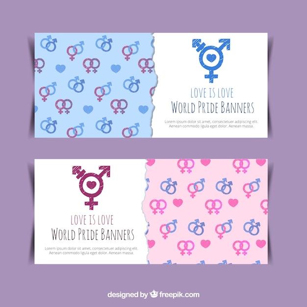 Banners com símbolos de gênero Vetor grátis
