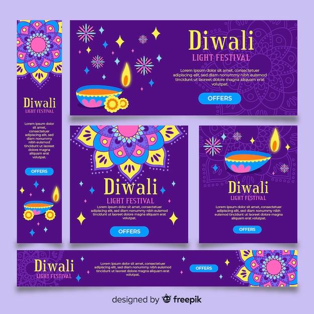 Banners da web de diwali em design plano Vetor grátis