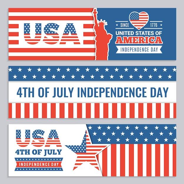 Banners da web do dia da independência dos eua. Vetor Premium