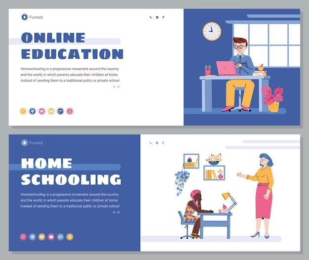 Banners da web para educação on-line para crianças e educação em casa com crianças de desenhos animados usando o computador Vetor Premium