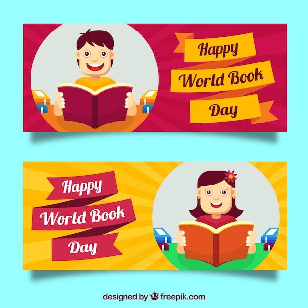 banners das crianças que lêem no dia livro Vetor grátis