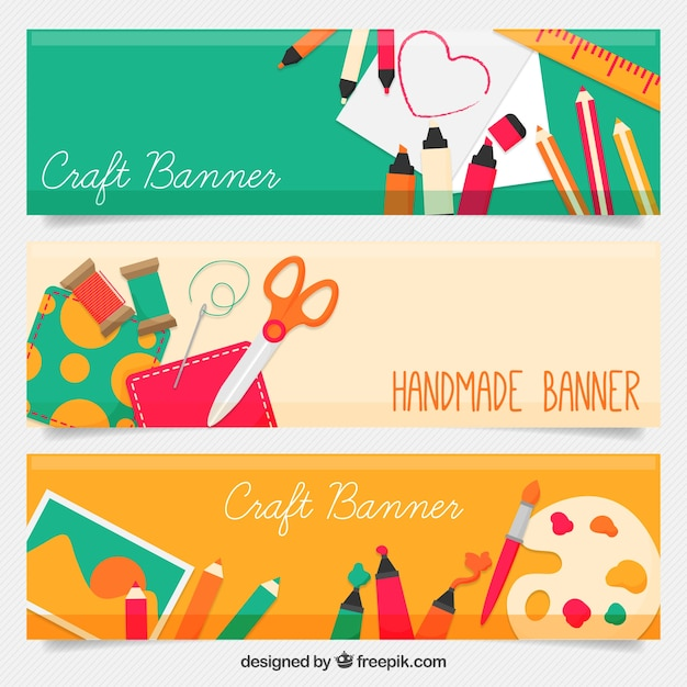 Banners de artesanato bonitas Vetor grátis