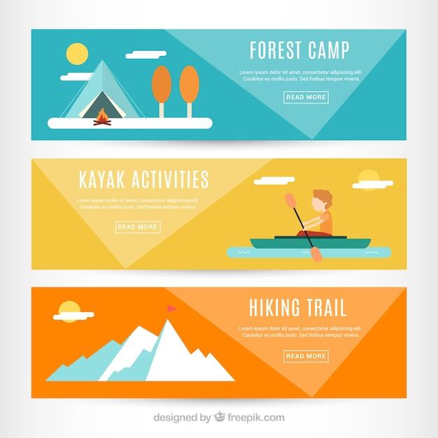 Banners de aventura em design plano Vetor grátis