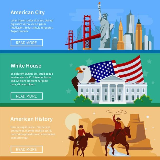 Banners de bandeira eua com a paisagem urbana americana casa branca e cowboys Vetor grátis