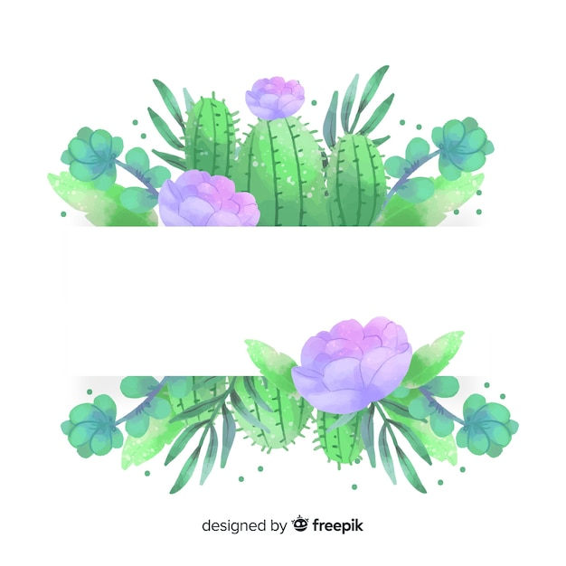 Banners de cacto aquarela com banner em branco Vetor grátis