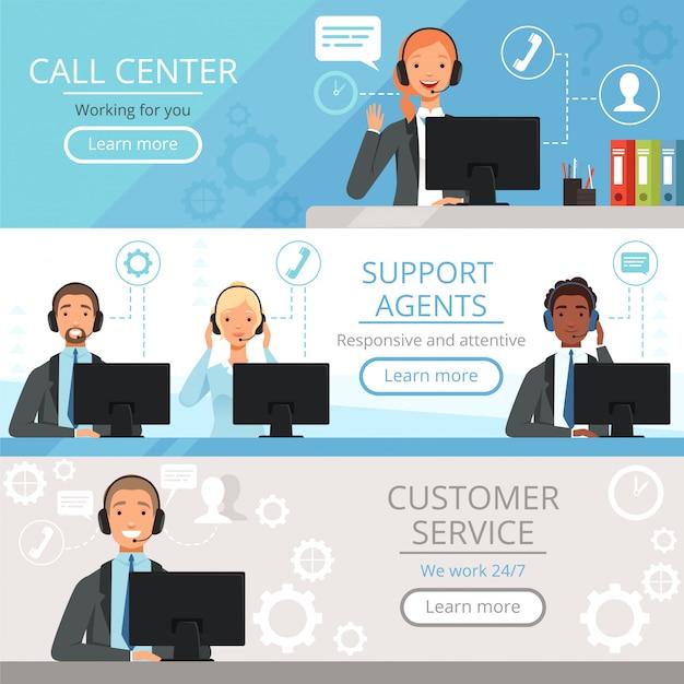 Banners de call center. suporte agentes caracteres telefone de serviço ao cliente, ajudando os operadores vetor ilustrações dos desenhos animados Vetor Premium