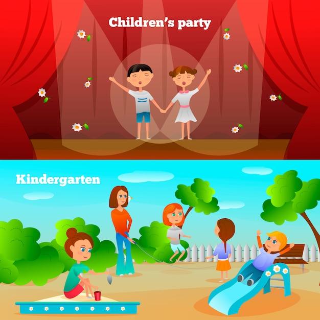 Banners de caráter de jardim de infância Vetor grátis