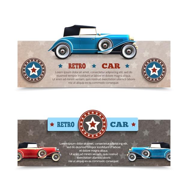 Banners de carros retrô Vetor grátis