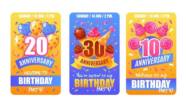 Banners de cartões de aniversário de aniversário Vetor grátis