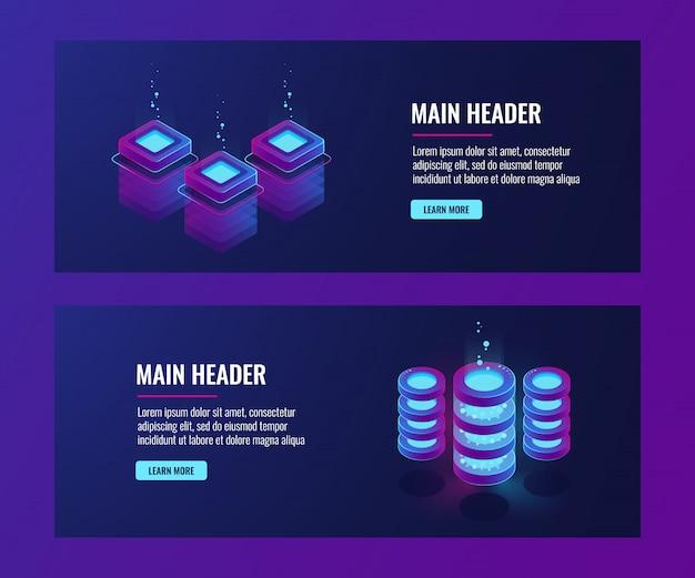 Banners de centro de dados e banco de dados, ícones de sala de servidor, néon escuro de informações de armazenamento em nuvem Vetor grátis