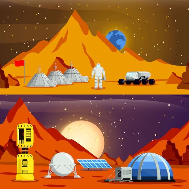 Banners de colonização do planeta Vetor grátis
