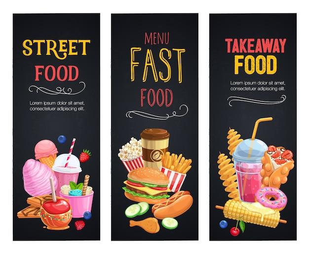 Banners de comida de rua. modelo de refeições para viagem com waffles de bolhas, hong kong, batata frita em espiral, limonada e maçãs em caramelo Vetor Premium