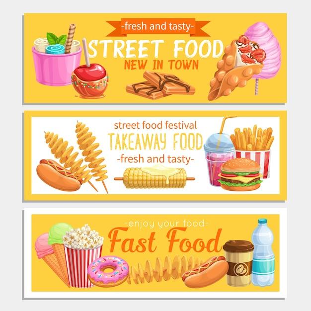 Banners de comida de rua. Vetor Premium