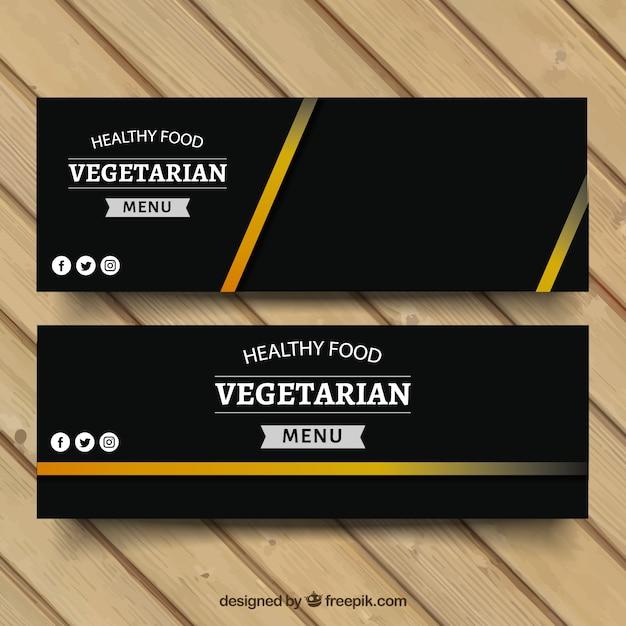 Banners de comida vegetariana Vetor grátis