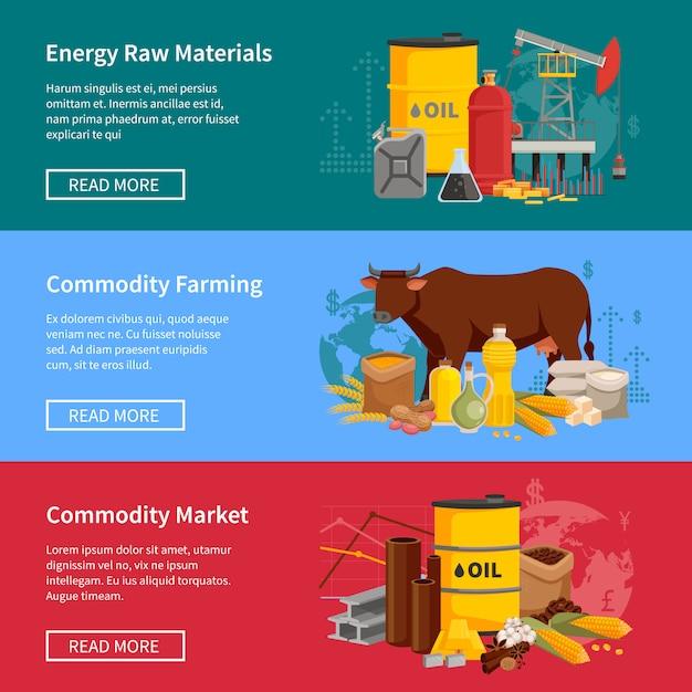 Banners de commodities definido com agricultura de commodities de matérias-primas de energia e mercado Vetor grátis