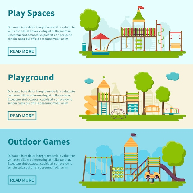 Banners de conceito de recreio Vetor grátis