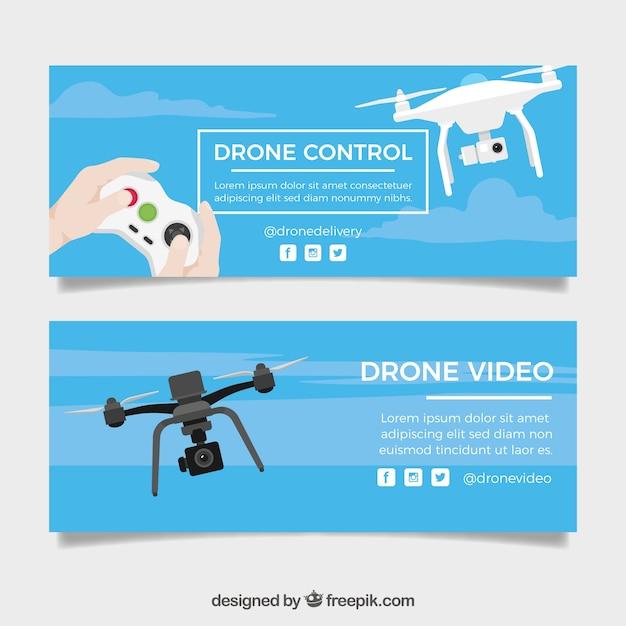 Banners de controle de drone Vetor grátis