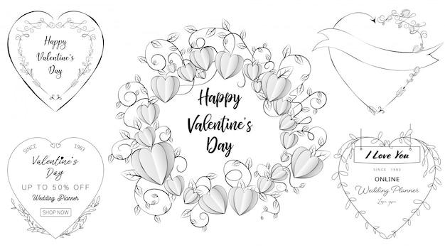 Banners de coração doodle em um conjunto de dia dos namorados e elementos do casamento Vetor Premium