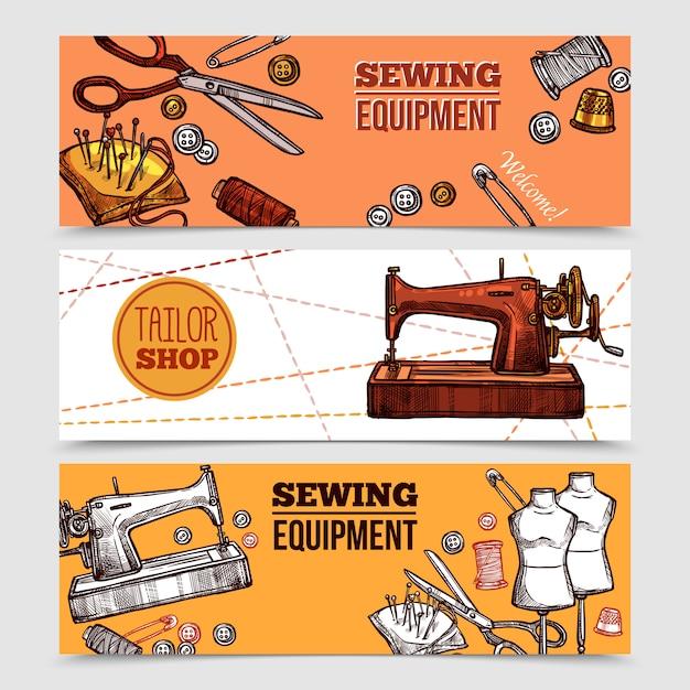 Banners de costura vintage Vetor grátis