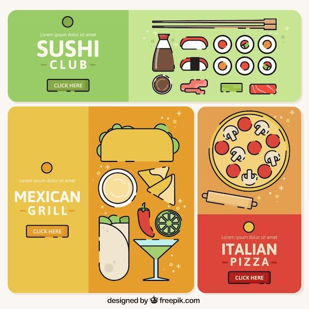Banners de cozinha coloridas com diferentes tipos de for Tipos de restaurantes franceses