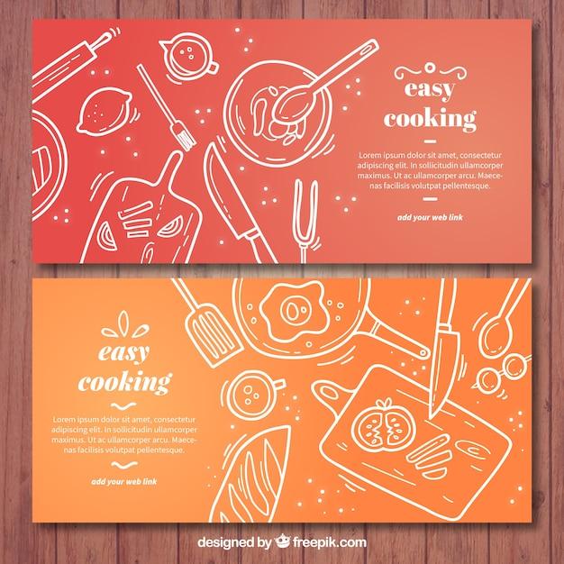 Banners de cozinha vermelho e laranja com elementos brancos Vetor Premium