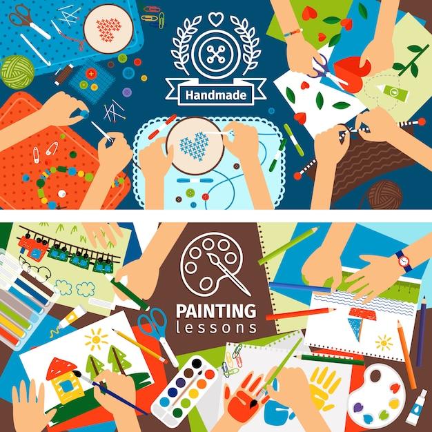 Banners de crianças criativas feitos à mão Vetor Premium