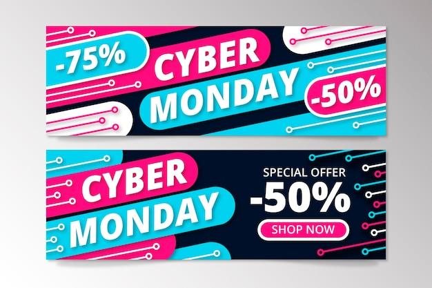 Banners de cyber monday em design plano Vetor grátis