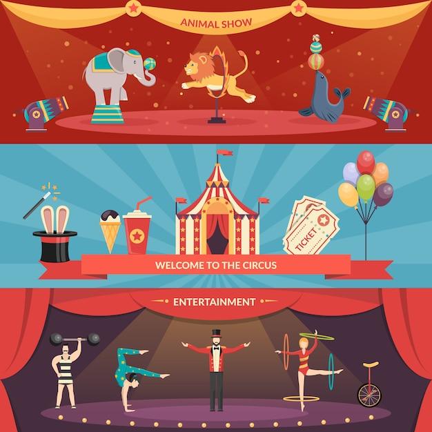 Banners de desempenho de circo Vetor grátis