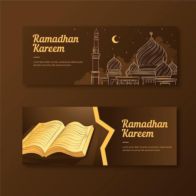 Banners de desenho com o ramadã Vetor grátis