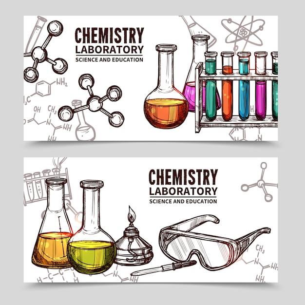 Banners de desenho de laboratório de química Vetor grátis