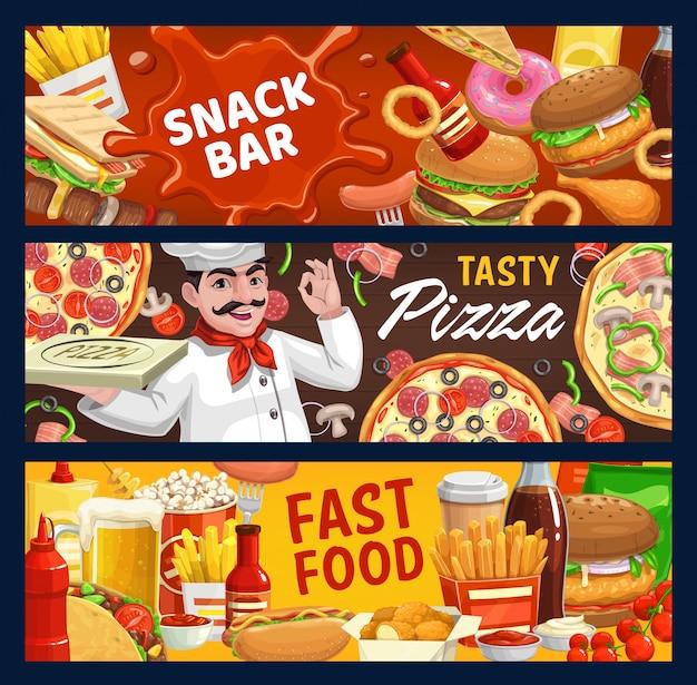 Banners de desenho vetorial de fast food e lanchonete Vetor Premium