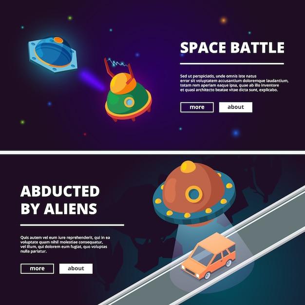 Banners de desenhos animados de naves espaciais Vetor Premium