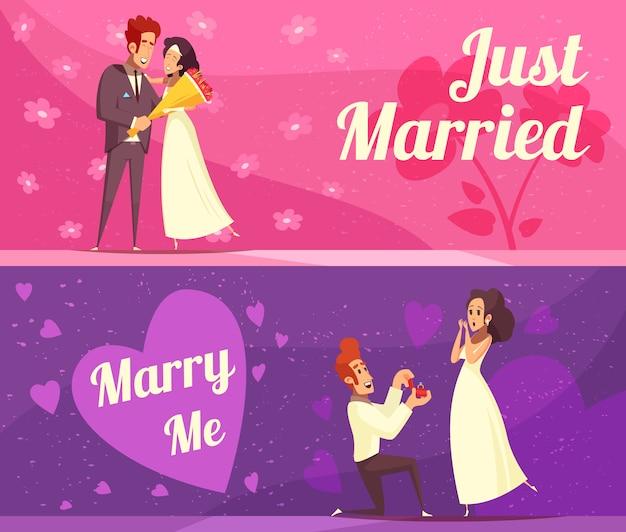 Banners de desenhos animados de recém-casados Vetor grátis