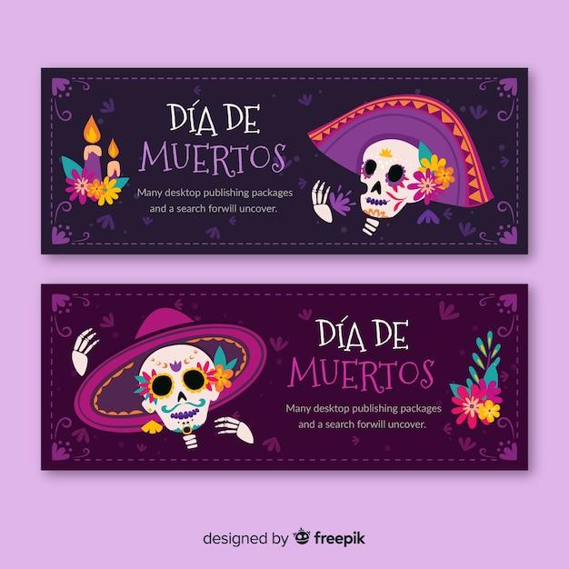 Banners de design plano dia de muertos Vetor grátis