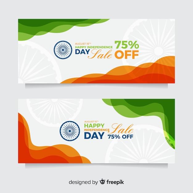 Banners de dia da independência da índia plana Vetor grátis
