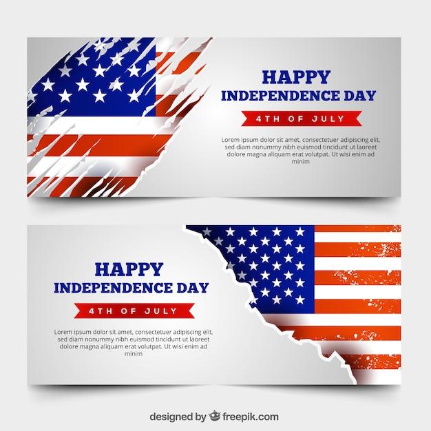 Banners de dia da independência dos eua vintage Vetor grátis