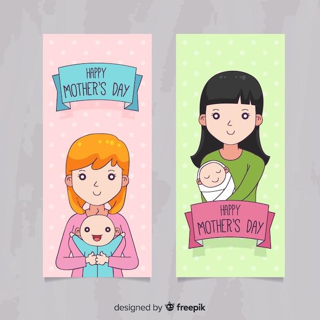 Banners de dia das mães de mão desenhada Vetor grátis