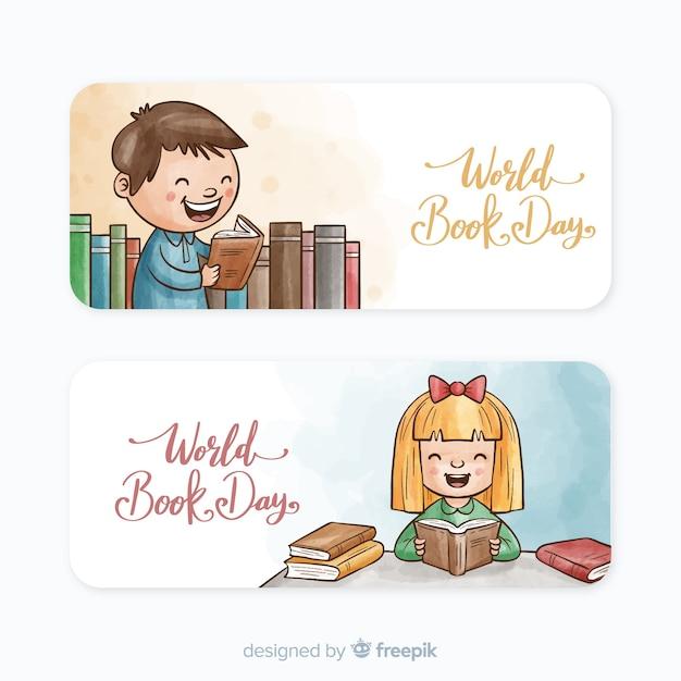 Banners de dia de livro mundo aquarela Vetor grátis