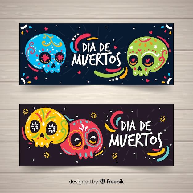 Banners de día de muertos colorido mão desenhada Vetor grátis