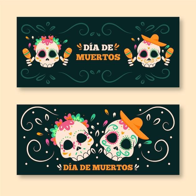Banners de dia de muertos desenhados à mão Vetor grátis