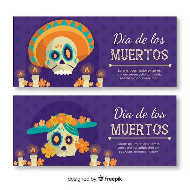 Banners de dia de muertos plana com caveira mexicana Vetor grátis
