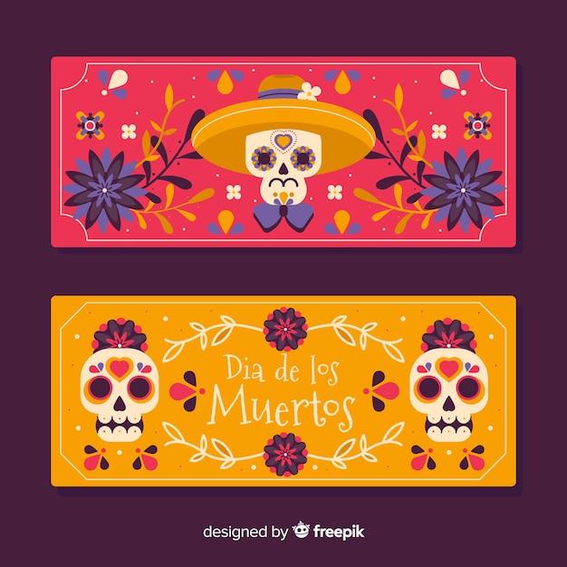 Banners de dia de muertos plana Vetor grátis