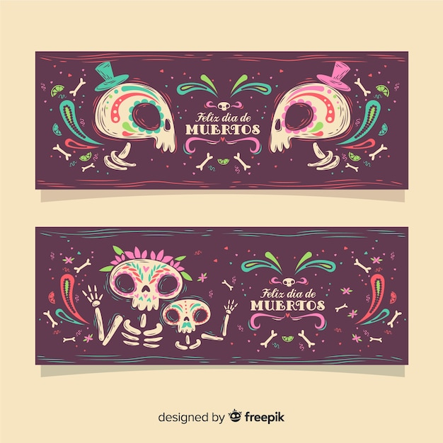Banners de día de muertos Vetor grátis