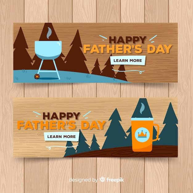 Banners de dia de pai de mão desenhada Vetor grátis